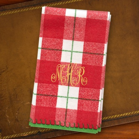 Red Plaid Guest Towels - Monogram