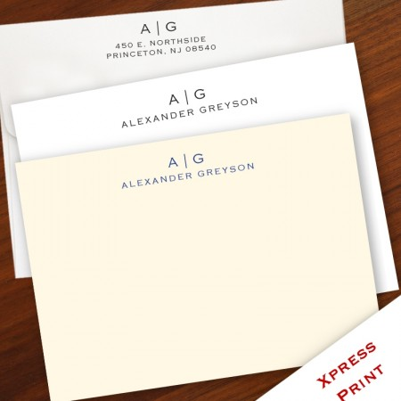Modern Monogram Correspondence Cards