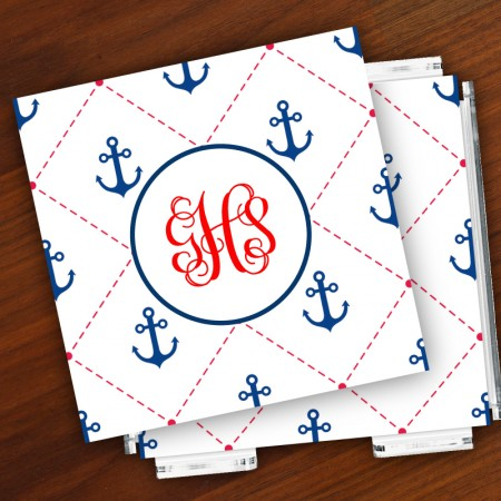 Merrimade Designer Paper Coasters w/Holder - with Monogram - Stitched Anchors