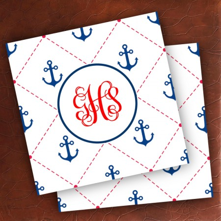 Merrimade Designer Paper Coasters - with Monogram - Stitched Anchors