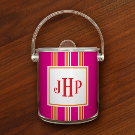 Merrimade Ice Buckets - with Monogram - Pink Bold Stripe