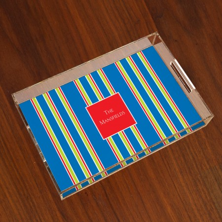 Merrimade Large Serving Tray - Navy Bold Stripe