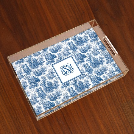 Merrimade Large Serving Tray - with Monogram - Navy Toile
