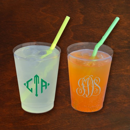 Designer 8 oz. Clear Tumblers - with Monogram