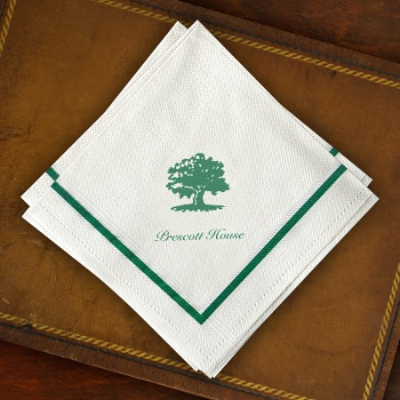 Designer Textured Beverage Napkins - Single Green Border