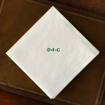 Designer Textured Beverage Napkins - Plain Border with Monogram