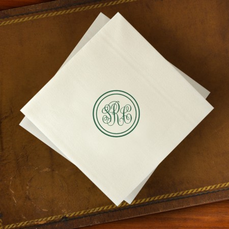 Designer Paper Linen Dinner Napkins with Monogram