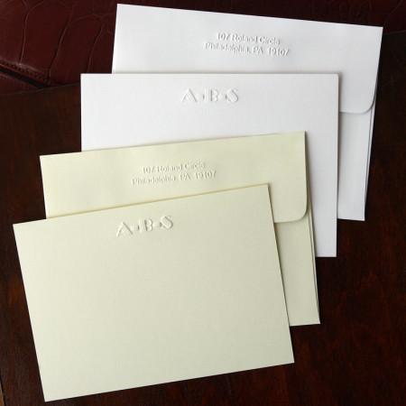Designer Embossed Correspondence Cards - with Monogram