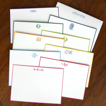 Hand Bordered Designer Correspondence Cards - with Monogram
