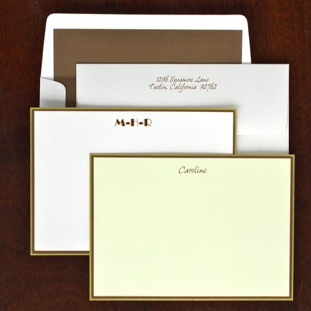Hampton Correspondence Cards - Gold & Chocolate