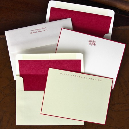 Red Hand Bordered Correspondence Cards