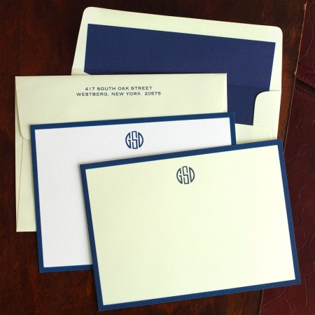 Navy Wide Hand Bordered Cards