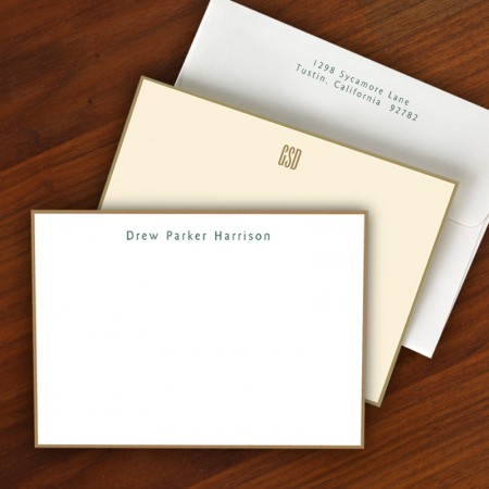 Gold Hand Bordered Correspondence Cards