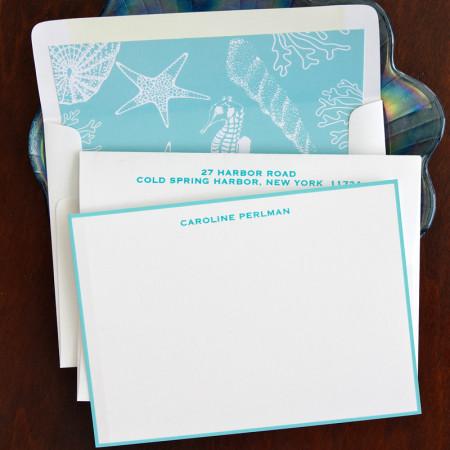 Aqua Hand Bordered Correspondence Cards