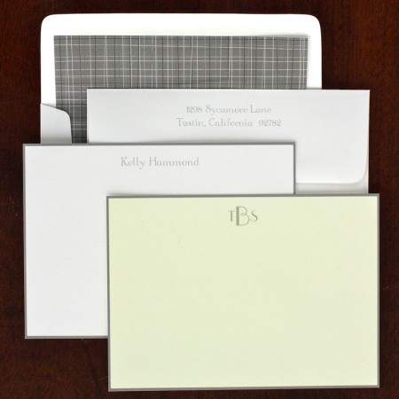 Gray Hand Bordered Correspondence Cards
