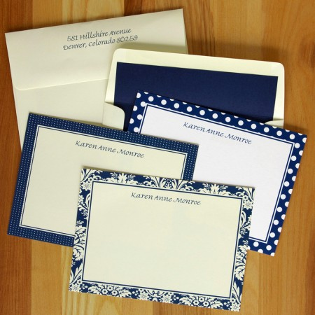Navy Pattern Border Cards