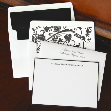 Black Hand Bordered Correspondence Cards