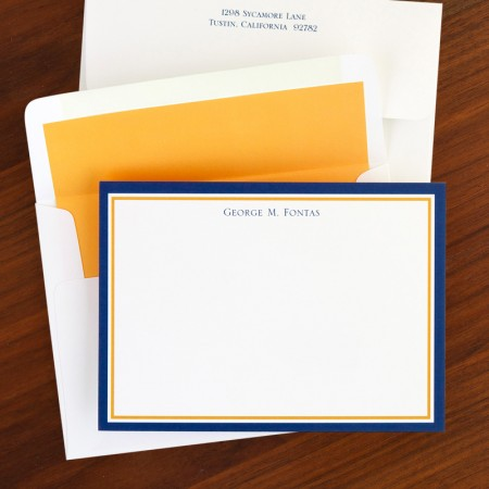 Border Navy & Orange Correspondence Cards