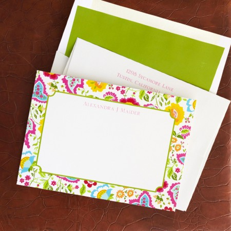 Bright Floral Correspondence Cards