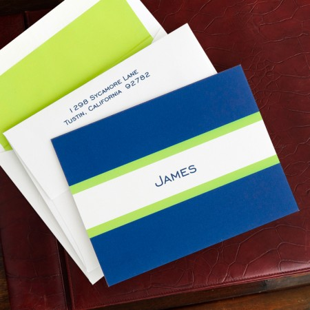 Navy & Lime Stripe Fold Notes