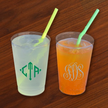 Designer 12 oz. Clear Tumblers - with Monogram