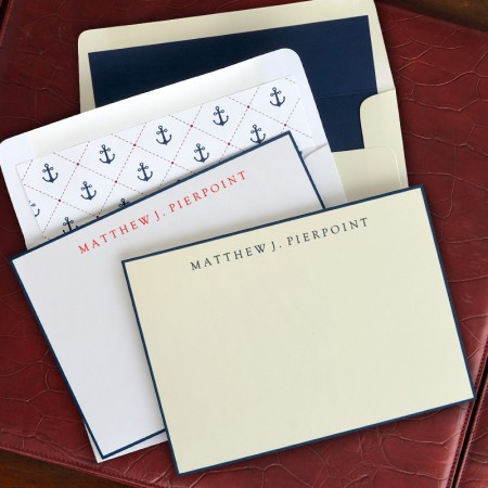 Navy Hand Bordered Correspondence Cards