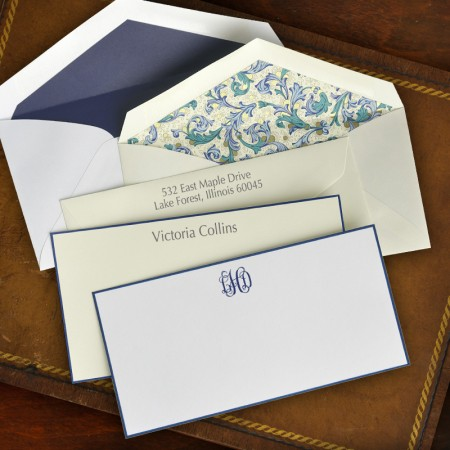 Navy Hand Bordered Slender Correspondence Cards