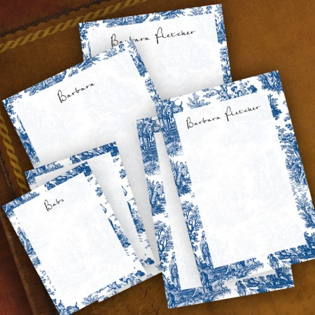 Navy Toile Memo Pad Set