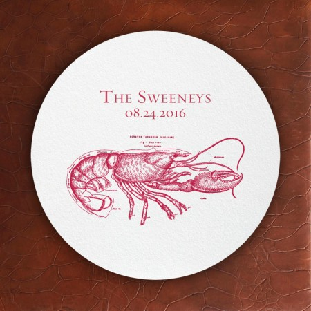 Prentiss Letterpress Coasters- Lobster Design
