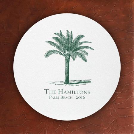 Prentiss Letterpress Coasters- Palm Tree Design
