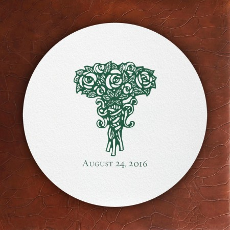 Prentiss Letterpress Coasters- Roses Design
