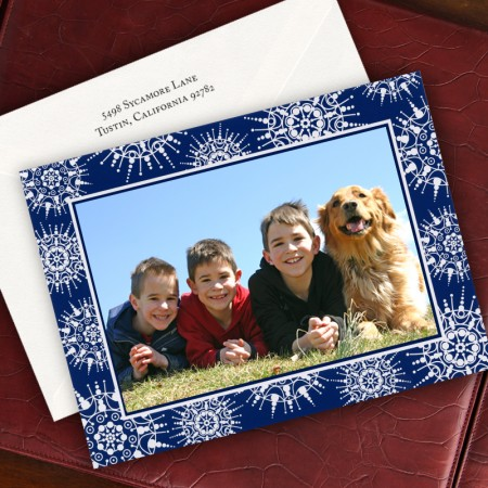 Snowflake Foil Photo Christmas Card - Horizontal
