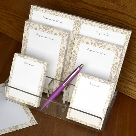 Taupe Damask Memo Pad Set & Acrylic Holder