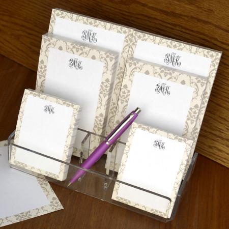 Taupe Damask Memo Pad Set & Acrylic Holder - with Monogram