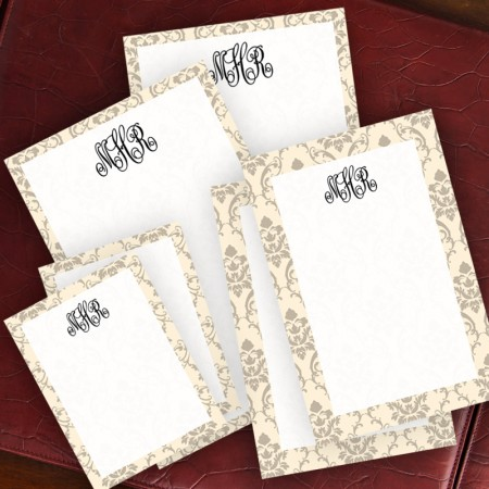 Taupe Damask Memo Pad Set - with Monogram