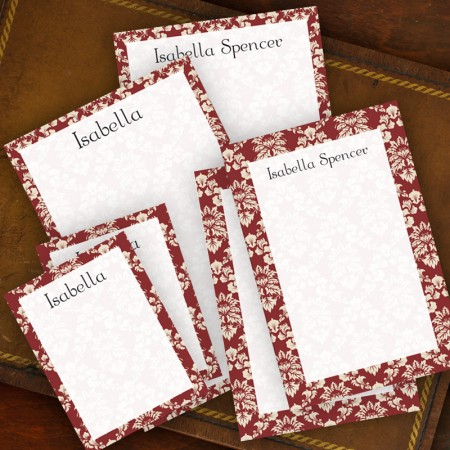 Wine Damask Memo Pad Set