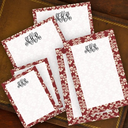 Wine Damask Memo Pad Set - with Monogram