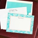 Coral Repeat Teal Correspondence Cards
