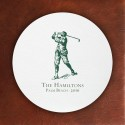 Prentiss Letterpress Coasters- Golfer Design