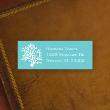 Coral Teal Address Label