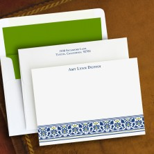 Navy Floral Correspondence Cards