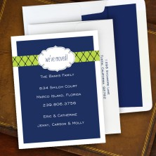 Label Chic Moving Navy Correspondence Cards