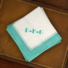 Caspari® Aqua Bordered Cocktail Napkins - with Monogram