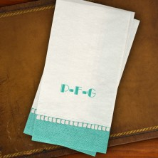 Caspari® Aqua Bordered Guest Towels - with Monogram