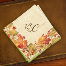Caspari® Autumn Leaves Cocktail Napkins - with Monogram