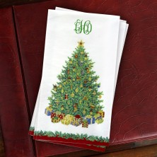 Caspari® Christmas Tree Guest Towel - with Monogram