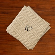 Caspari® Tan Herringbone Cocktail Napkins with Monogram