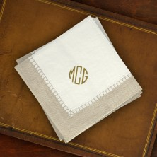 Caspari® Taupe Bordered Cocktail Napkins - with Monogram