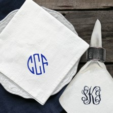 Embroidered Cotton Napkins - Monogrammed