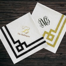 Regency Bordered Cocktail Napkins Monogram